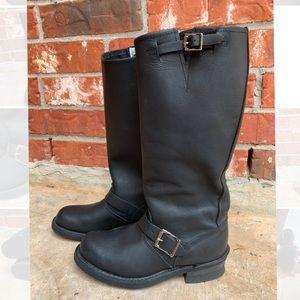 FRYE Engineer 15R 77555 black tall biker boots 7.5